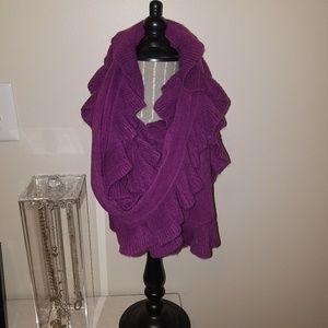 Brand New No Tag Purple Knit Ruffle Scarf